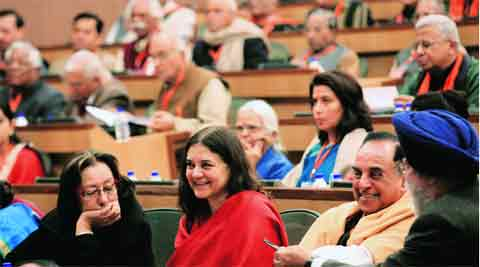 Najma Heptulla, Maneka Gandhi and Subramanian Swamy at the meeting.