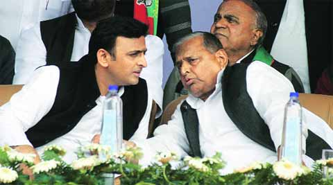 CM Akhilesh Yadav with party chief Mulayam Singh Yadav at Varanasi rally, Thursday. (Express Photo)