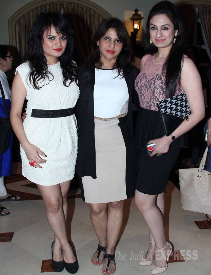 Singer Aditi Singh Sharma picked a white dress with a black belt and pumps, while Jyoti Malik was a mix of black and white. The girls get together with Akriti for a picture. (Photo: Varinder Chawla)
