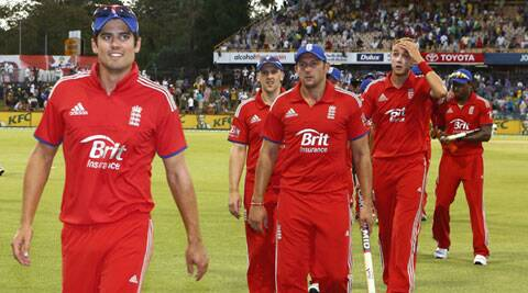 England's Captain Alastair Cook, left, leads his teammates off the field after defeating Australia by 57 runs in their one day international cricket match in Perth (Reuters)