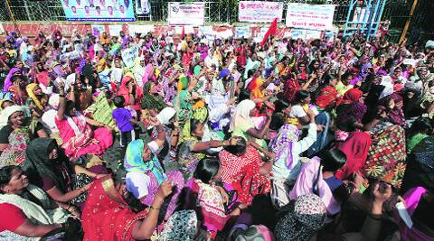 Anganwadi workers protest outside the collectorate.