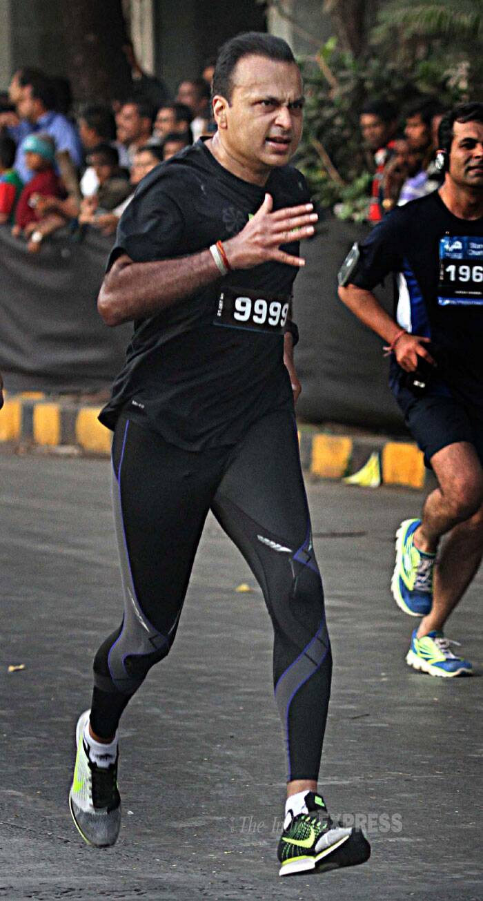 Chairman of Anil Dhirubhai Ambani Group, Anil Ambani sweats himself out at the Mumbai Marathon. (IE Photo: Deepak Joshi)