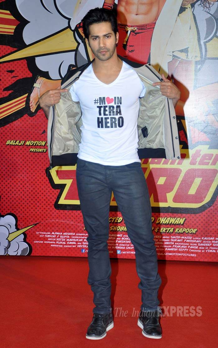 "Varun Dhawan, who will be playing the role of Sreenath ""Seenu"" Prasad in his father's directorial venture, wore a tee shirt with the film's name. (Photo: Varinder Chawla)"