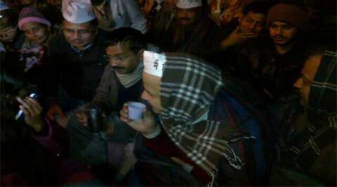 Delhi CM Arvind Kejriwal at the venue of protest outside Rail Bhawan. (IE Photo)
