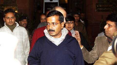 Kejriwal demanded action against Sagarpur SHO for involvement in an altercation with Birla. (IE Photo: Amit Mehra)