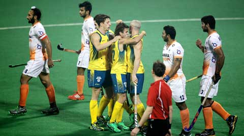 Australian players celebrate one of their seven goals against India on Wednesday (IE Photo Ravi Kanojia)