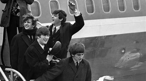 The band's first visit to the United States sparked wild Beatlemania at the New York airport on Feb. 7, 1964. (AP)