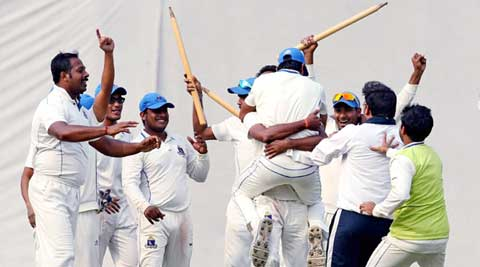 An ecstatic Bengal side celebrate at the Eden Gardens after narrowly defeating Railways in the Ranji Trophy quarterfinals (PTI)