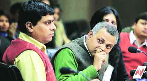 Law Minister Somnath Bharti at Delhi Secretariat on Tuesday. (Ravi Kanojia)