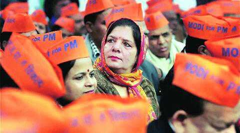BJP supporters protest against Delhi government on Friday. (PTI)