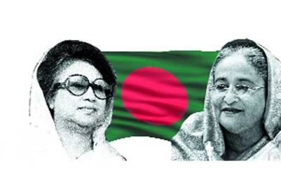 The two poles of Bangladesh: Khaleda Zia and Sheikh Hasina.