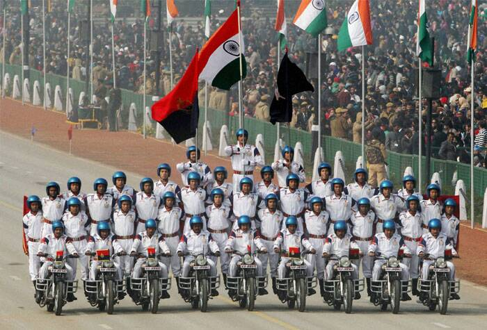 BSF daredevils perform during 65th Republic Day parade at Rajpath in New Delhi. (PTI)