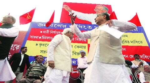 Gautam Deb and former West Bengal CM Buddhadeb Bhattacherjee at a Left rally, in Kolkata Wednesday.Subham Dutta