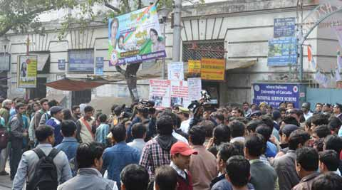 Student election at Calcutta University. Express photo.