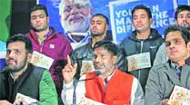 Young BJP leaders during a press conference in Sector 27 on Friday. 	Kamleshwar Singh