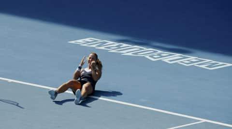 Dominika Cibulkova of Slovakia celebrates defeating Agnieszka Radwanska of Poland in their women's singles semi-final match at the Australian Open 2014 (Reuters)