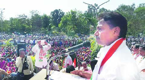 Over 20,000 tribals participated in a rally led by Tushar Chaudhary in Tapi on Wednesday. (Express Photo)