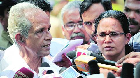 RMP leader T P Chandrasekharan's wife K K Rema and her father address the media outside the Special Additional Sessions Court in Kozhikode on Tuesday.