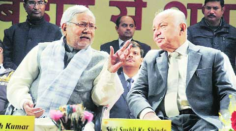 Shinde with Bihar CM Nitish Kumar in Patna on Saturday