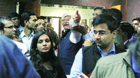 Asif Mohammed Khan shouts slogans at Kejriwal's press conference on Thursday.	PRAVEEN KHANNA