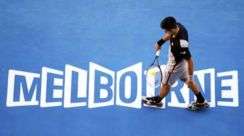 Novak Djokovic, winner of four Australian Open, beat Lukas Lacko 6-3, 7-6, 6-1 in the first round on Monday (Reuters)