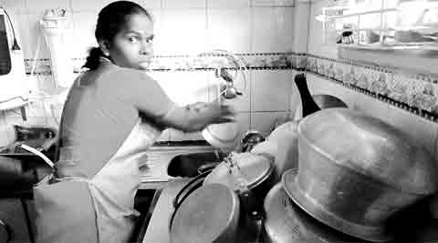 "Vasanthi works 8 am to 4 pm, at four houses, earning around Rs 1,000 at each. On ""lucky days"", she is offered breakfast. (Photo: Harsha Raj Gatty)"
