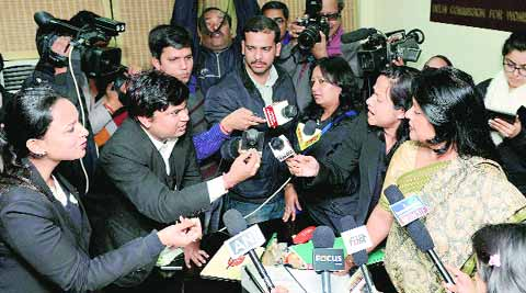 Bharti's lawyers and Barkha Singh had a public confrontation at the DCW office on Friday.