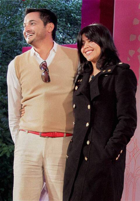 Ekta Kapoor and Siddharth Dhanvant Shanghvi during a session at the Jaipur Literature Festival in Jaipur.