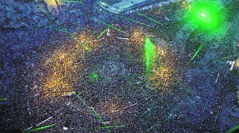 An aerial image shows a pro-military rally in Tahrir Square, the epicentre of the 2011 uprising, in Cairo Saturday. AP