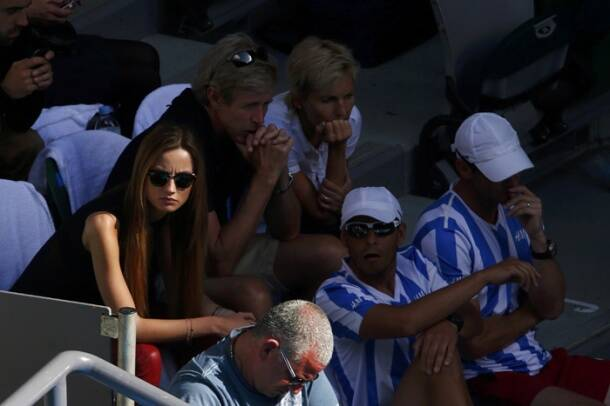 LADY LUCK WORKS AGAIN: For support, Berdych again had his girlfriend, who observed proceedings from the stands (Reuters)