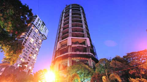 The 55-storey Sasen building. (IE Photo: Pradeep Kochrekar)