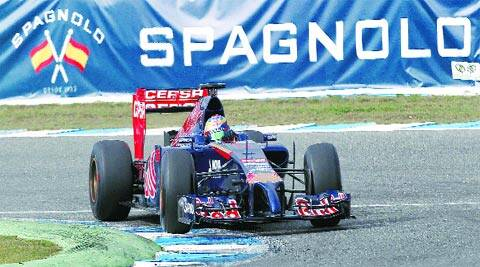 Nose job gone wrong? Toro Rosso's Jean-Eric Vergne drives the new STR9 at the Circuito de Jerez on Tuesday. New regulations aimed at improving safety require a car's front end to be much lower than what it used to be.AP