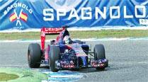 Nose job gone wrong? Toro Rosso's Jean-Eric Vergne drives the new STR9 at the Circuito de Jerez on Tuesday. New regulations aimed at improving safety require a car's front end to be much lower than what it used to be.	AP