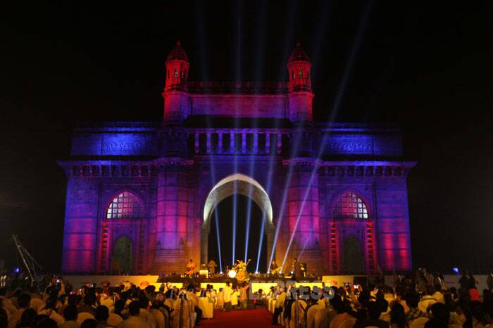 Gateway of India being illuminated with the dynamic special effects of the LED lights in Mumbai . New lighting of Gateway of India is initiative of Maharashtra tourism and Philips India. (IE Photo: Dilip Kagda)