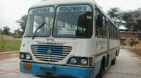 Haryana Roadways bus parked at Panchkula ISBT during the strike on Monday.