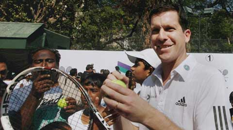 Former tennis player Tim Henman at a promotional event in Mumbai on Sunday  (IE Photo Pradeep Kocharekar)