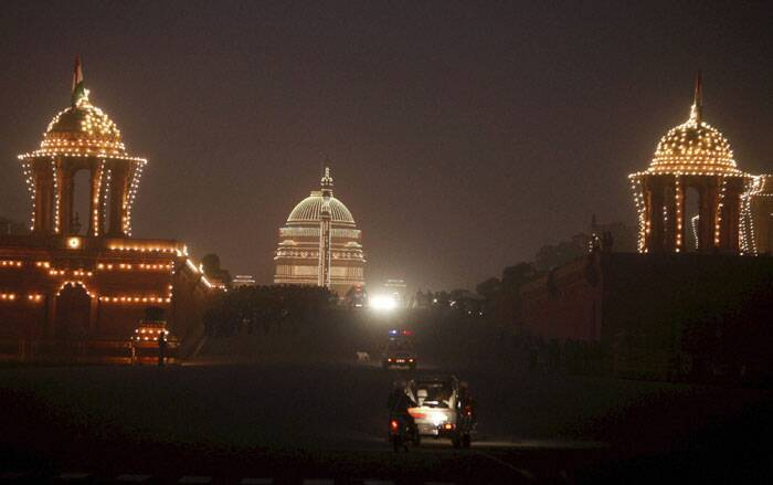 Raisina Hill is seen illuminated during the rehearsal for the Beating Retreat ceremony in New Delhi. (PTI)