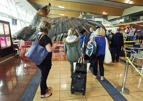 "Passengers make their way around a giant eagle sculpture promoting ""The Hobbit"" movie trilogy which fell from the roof in the wake of a 6.3 magnitude earthquake at Wellington Airport in Wellington. (AP)"