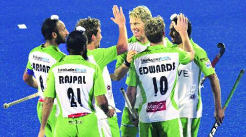 Delhi Waveriders celebrate a goal in the 3-1 win over Punjab Warriors. (Photo: Jasbir Malhi)