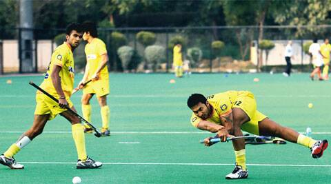 Drag-flicker VR Raghunath (right) during practice at National Stadium in New Delhi on Tuesday (IE Photo Ravi Kanojia)