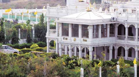 Girish Chandra Varma and his ashram-cum-home on the outskirts of Bhopal. (Express Archive)