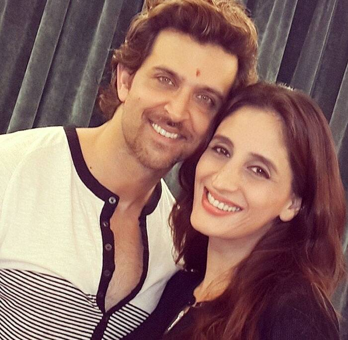 Hrithik Roshan is all smiles as he poses for a picture along with Sussanne's sister and jewellery designer Farah Ali Khan. (Instagram)