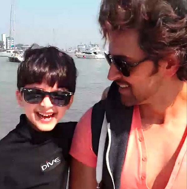 Seen here, Hrithik Roshan beams at his smiling son who sported a pair of cool shades just like his superstar dad. (Instagram)