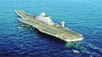 The INS Vikramaditya in the Arabian Sea on its way to Karwar port on Monday. PTI