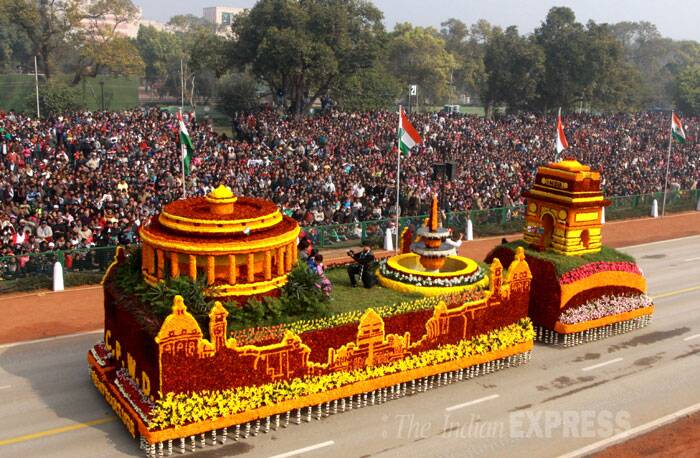 CPWD's tableau depicting New Delhi's two landmarks – The India Gate and Rashtrapati Bhavan - adorned with flowers makes it way past Rajapath at the Republic day Parade. (IE Photo: Prem Nath Pandey)