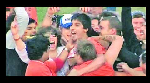 MAN AND HIS MOMENT: A TV grab of Jatinder after the catch