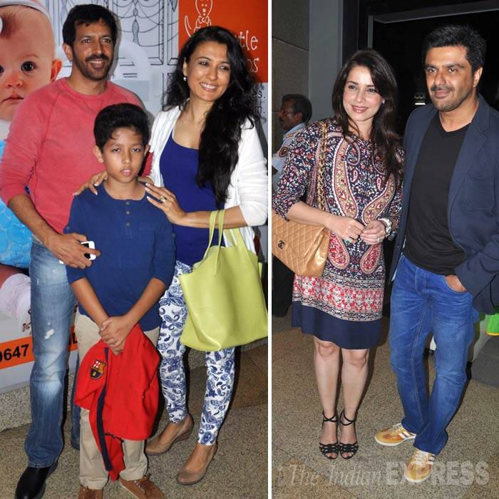 Salman Khan's 'Ek Tha Tiger' director Kabir Khan and wife Mini Mathur arrived with their son Vivaan, while Samir Soni was accompanied by wife Neelam. Neelam has in the past worked with Salman Khan in 'Ek Ladka Ek Ladki'. (Photo: Varinder Chawla)