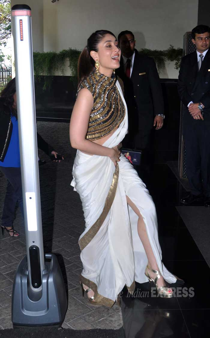 Kareena Kapoor revealed a bit too much leg, given the formal occasion. (Photo: Varinder Chawla)