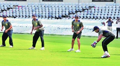 The Karnataka team at a practice session ahead of the Ranji Trophy final in Hyderabad on Tuesday (IE Photo)