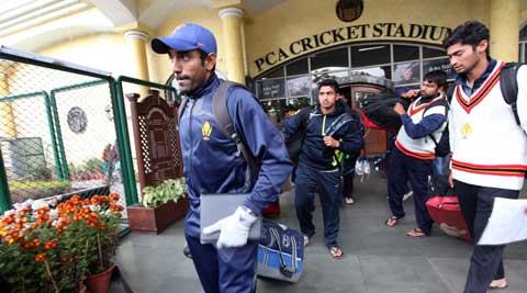 Karnataka players leave the venue after the last day's play was called off. They now play Maharashtra in the Ranji Trophy final (IE Photo Jasbir Malhi)